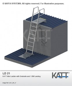 Katt Roof Ladder with Guardrails and Landing (LD 21)