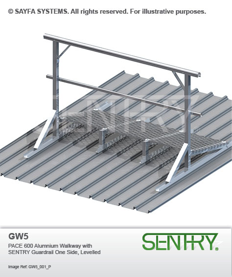 Sentry Pace 600 Aluminium Walkway with Guardrail on one side (GW 5)