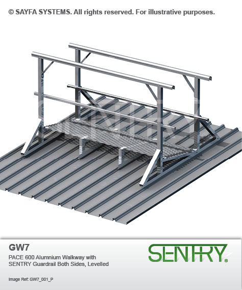Sentry Pace 600 Aluminium Walkway with Guardrails on both sides (GW 7)