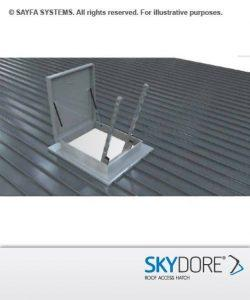 Hinged roof access hatch